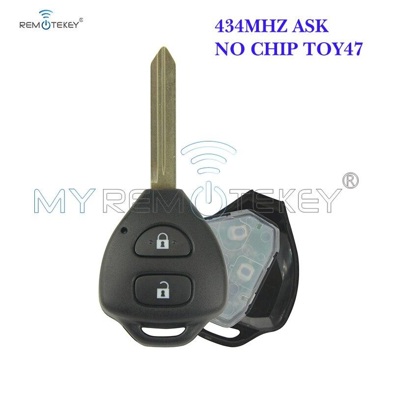 Remtekey chave remota para toyota auris corolla verso yaris 2 botão 434mhz toy47 sem chip 2009 2010 2011 2012 2013