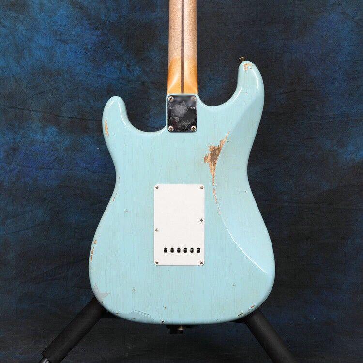 Custom shop.Eelectric guitar.blue color gitaar,handmade 6 stings guitarra,maple fingerboard.white pickguard enlarge