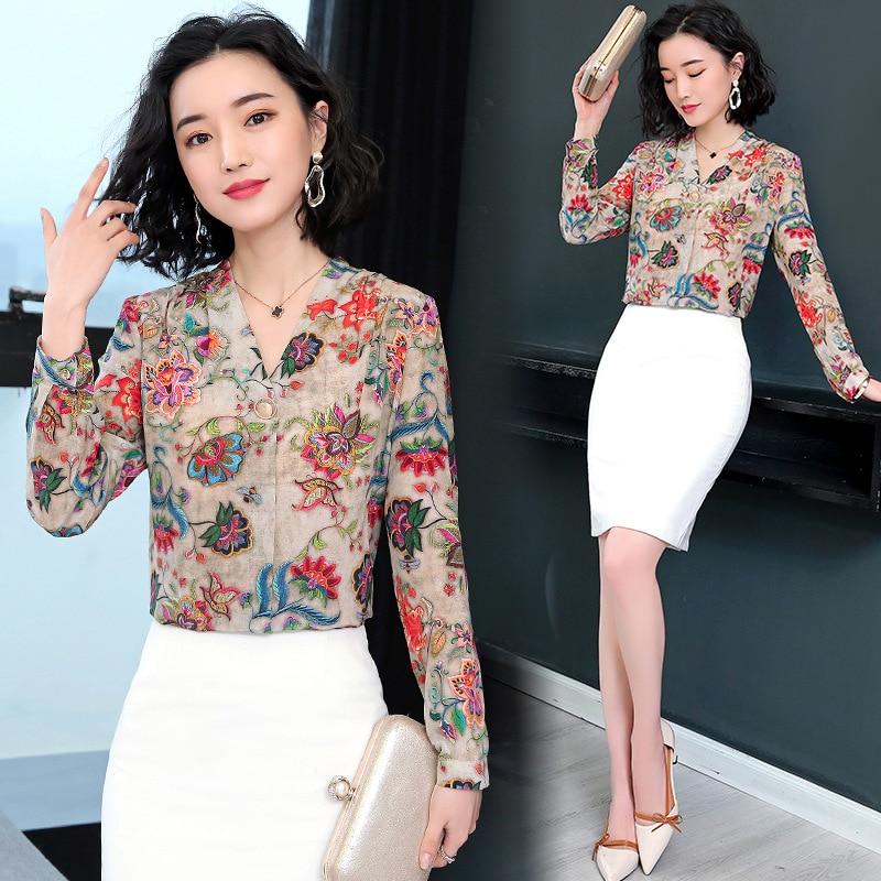 2021 جديد الشيفون قميص المرأة طويلة الأكمام التطريز فضفاض الشريط الرجعية بلوزات على الموضة قميص فام السيدات بلوزات من الشيفون