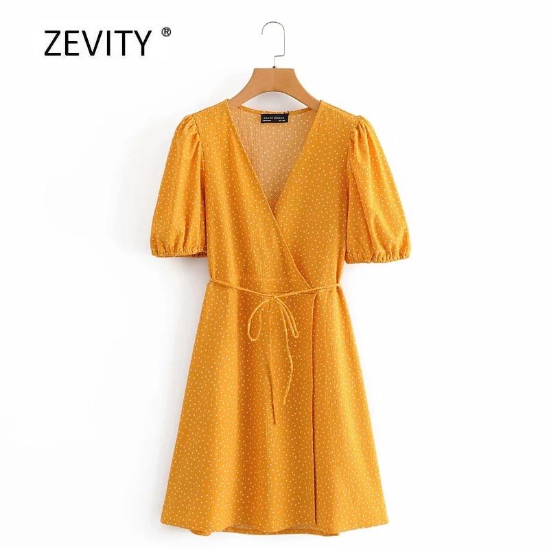 Zevity nuevas mujeres vintage polks estampado de puntos de encaje envuelto mini vestido chic para mujer con manga fruncida casual slim a line vestidos DS4096