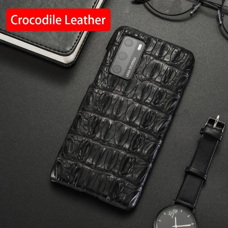 غلاف هاتف من جلد التمساح الطبيعي ، جراب خلفي لهاتف Huawei P20 P30 P40 Honor 9X Mate 10 20 30 Lite 40 Pro Plus Nova 5T