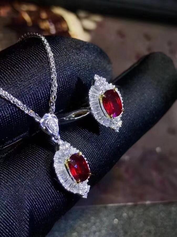 Charme vermelho rubi pedra preciosa anel e colar conjunto de jóias real925 prata ornamento natural gema menina festa presente birthstone presente