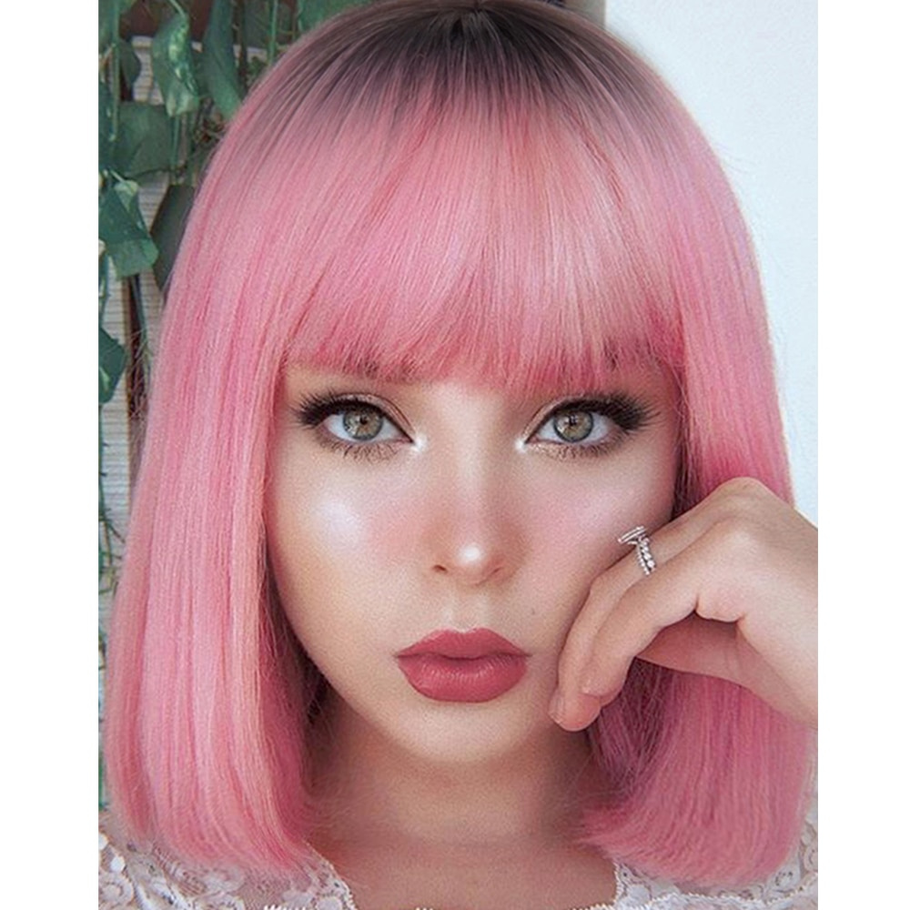 AZQUEEN Short Bob Straight Wig With Bangs for Women Synthetic Wigs Black Pink Party Daily Use Shoulder Length