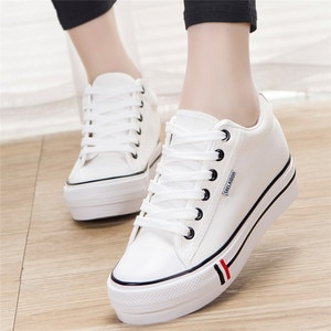 Women Shoes  Autumn Fashion High Canvas Shoes Within Lacing Female Students Running Small White Shoes Sports Casual Shoes Women