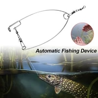 automatic fishing hook trigger stainless steel auto fishing device adjustable spring loaded ejection hook fishing accessories