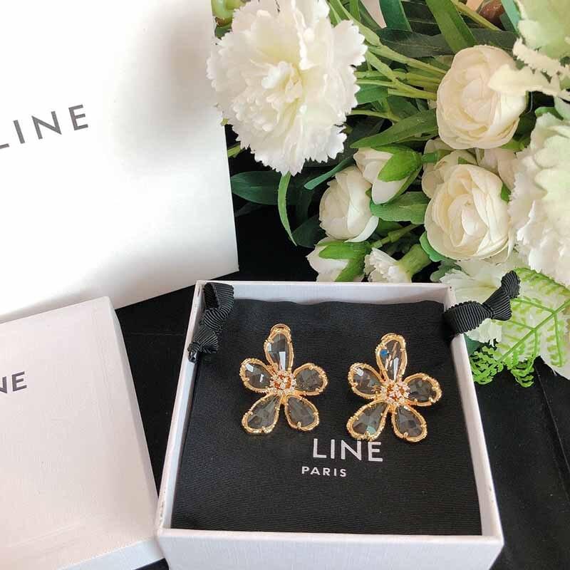 Cosmicchic Crystal Flower Stud Earrings For Women Gift Luxury Style Clear Glass Earrings Fashion Jewelry 2020 Runway