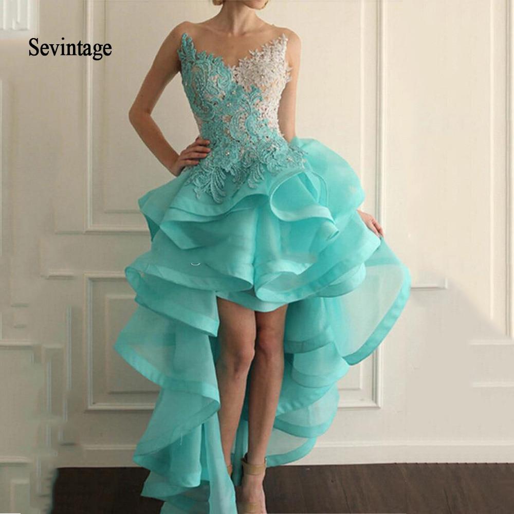 Sev vintage-فستان كوكتيل من الأمام والخلف ، 2020 ، أزرق ، رقبة الوهم ، دانتيل الأورجانزا ، زينة ، خرز مكشكش