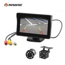 """Topsource 4.3 """"lcd automático 2 em 1 tft câmera de visão traseira estacionamento monitor a cores + led visão noturna ccd câmera de backup com monitores do carro"""