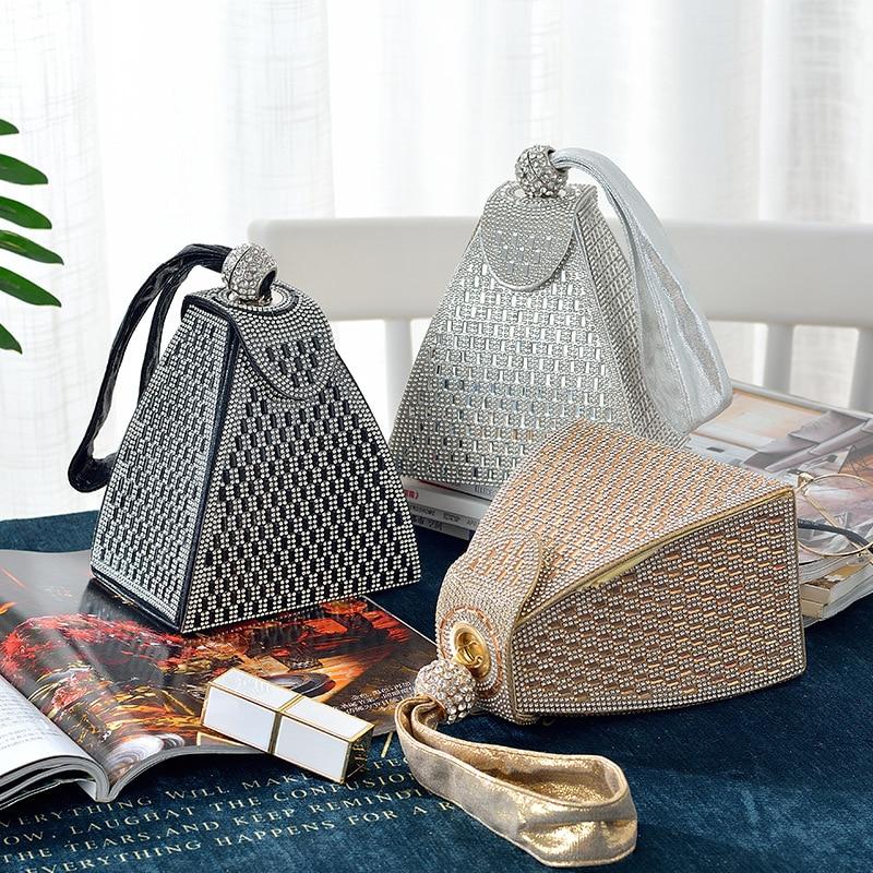 Women Handbag Exquisite Masonry Decoration Simple Triangle Portable Fashion Banquet Bag Daily Shopping Tote Bag High Quality