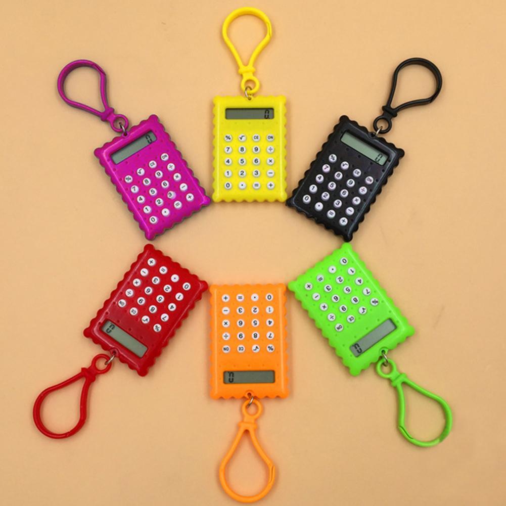 Mini Calculator Pocket Student Mini Electronic Calculator Biscuit Shape School Office Supplies Mini Calculator 2020