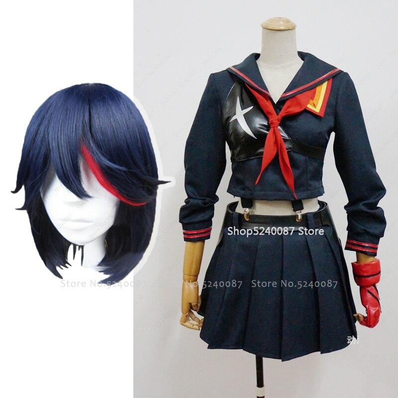 Anime KILL La KILL Matoi Ryuko pelucas corto Cosplay del pelo disfraz collar camiseta falda chaleco bufanda guantes cinturón traje de uniforme escolar