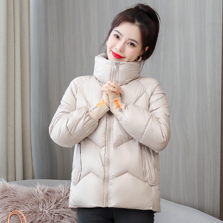 Женская парка, зимние короткие куртки 2021, женские пуховые пальто из хлопка с принтом на молнии