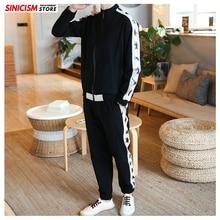Sinicism Store Mens Sets Spring Chinese Style Coat Streetwear Tracksuit Mens 2020 Loose Zipper Pants Linen Suit Male Clothes