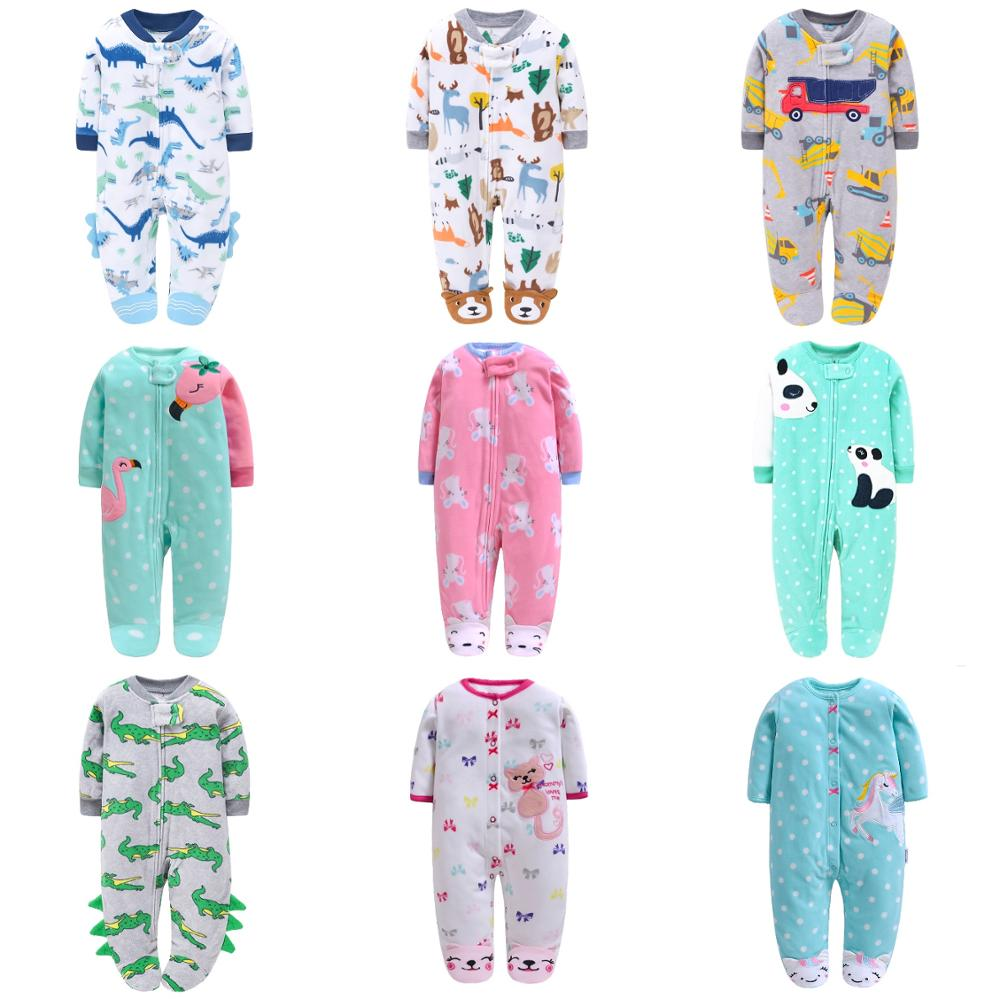 Newborn Baby Rompers 2020 Fall Winter Fleece Warm Little Brother Sister All Star Footed Baby Pajamas Infant jumpsuits Sleepwear