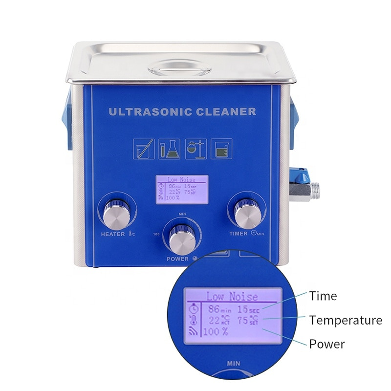 LCD Display Power Adjustment Metal Mould Dust Dirty Degreaser Ultrasound Equipment 6.5L Ultrasonic Cleaner
