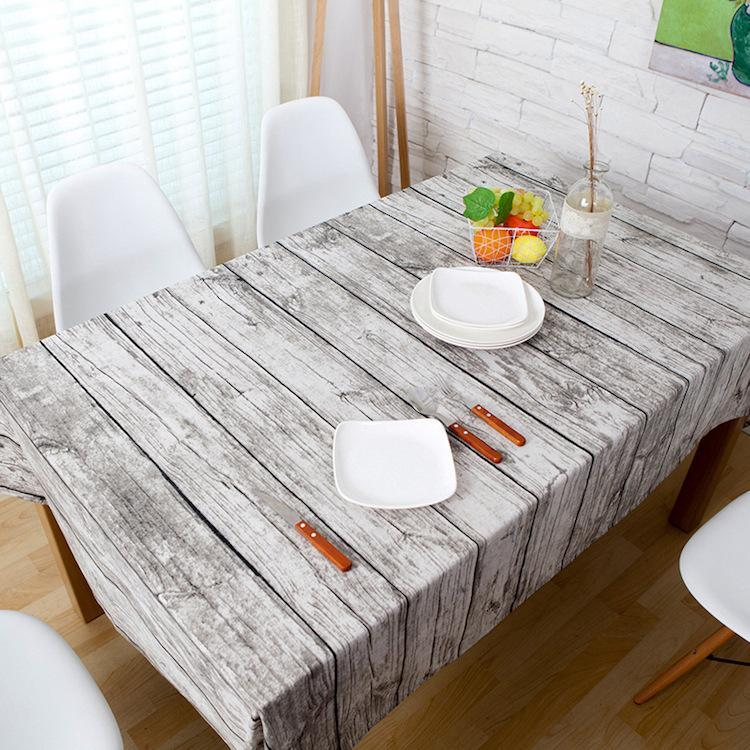 Mantel rústico de tela de grano de madera, mantel de lino, manteles de café, decoración de boda para cocina, mantel Banquete de comida 7 cm