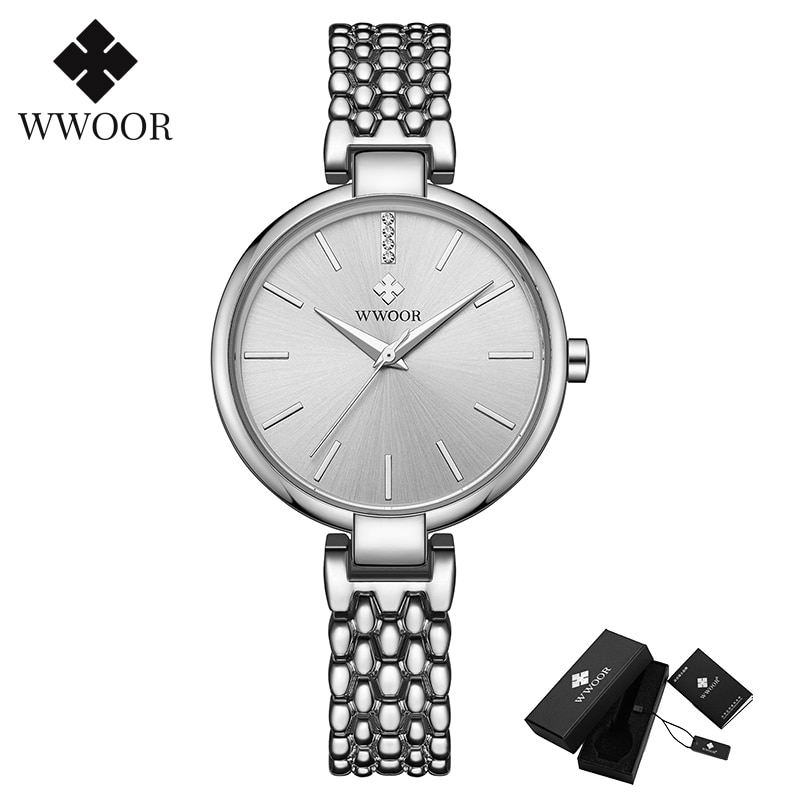 WWOOR 2020 Dress Ladies Wristwatch Luxury Brand Elegant Silver Bracelets Watches Womens Waterproof Clock Female Moda Feminina enlarge