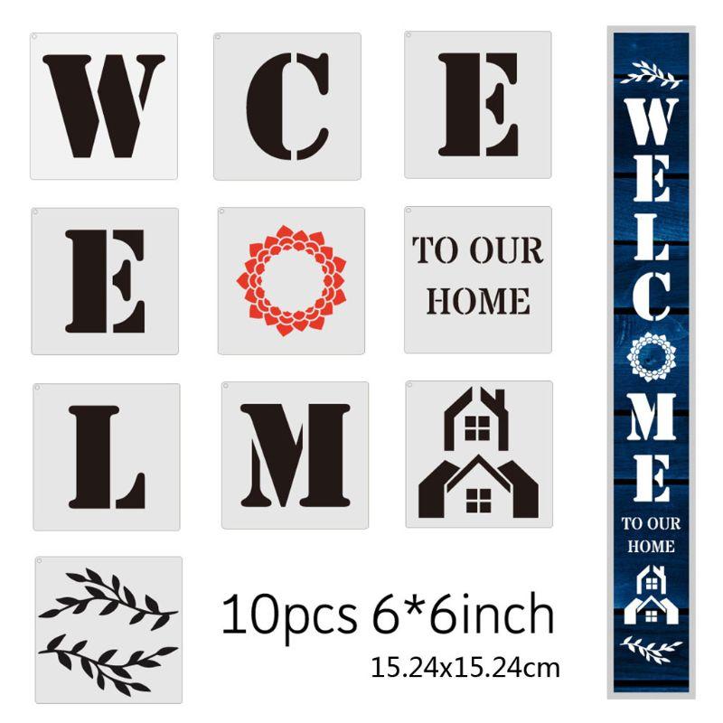 """6x6 pulgadas """"WELCO M.E TO OUR HOME"""" plantilla reutilizable de tiza para mascotas Plantilla de corte de pintura Plantilla de piso azulejo de pared mobiliario plantilla para pintura Ste"""