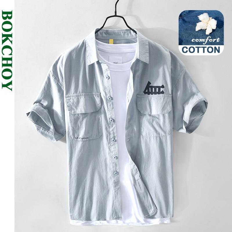 2021 صيف ربيع جديد الرجال سقوط الكتف عادية كم قصير قميص قطن ملابس عمال الجمل الكاكي GA-Z152