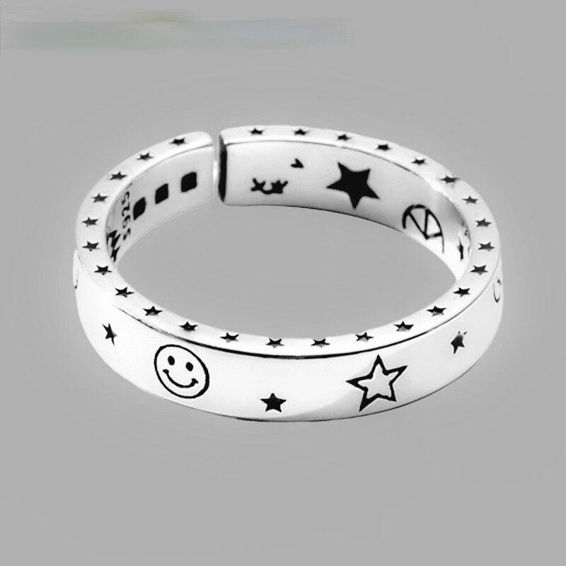925-пробы-серебряная-луна-звезды-Улыбка-смайлик-Открытие-Кольца-для-Для-женщин-Романтический-подарок-тайский-серебряный-Винтаж-Стиль-хорош