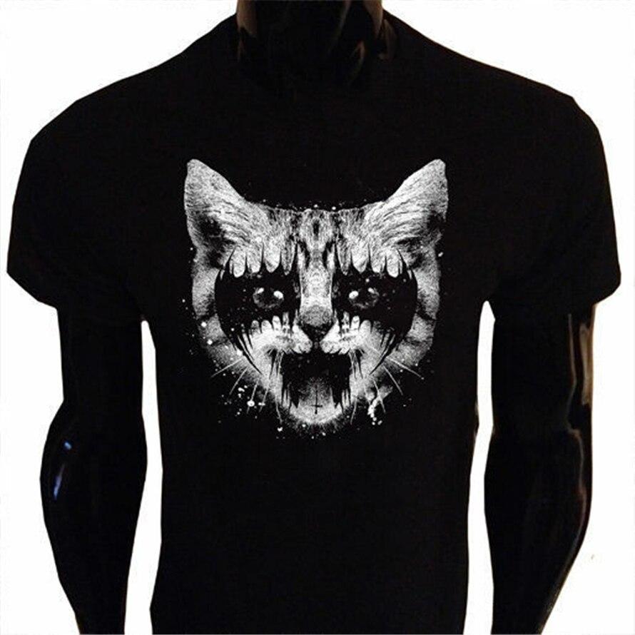 Camiseta de Metal Kitty S-5Xl con serigrafía para hombre Goth Punk Rock Pussy Cat camiseta festiva