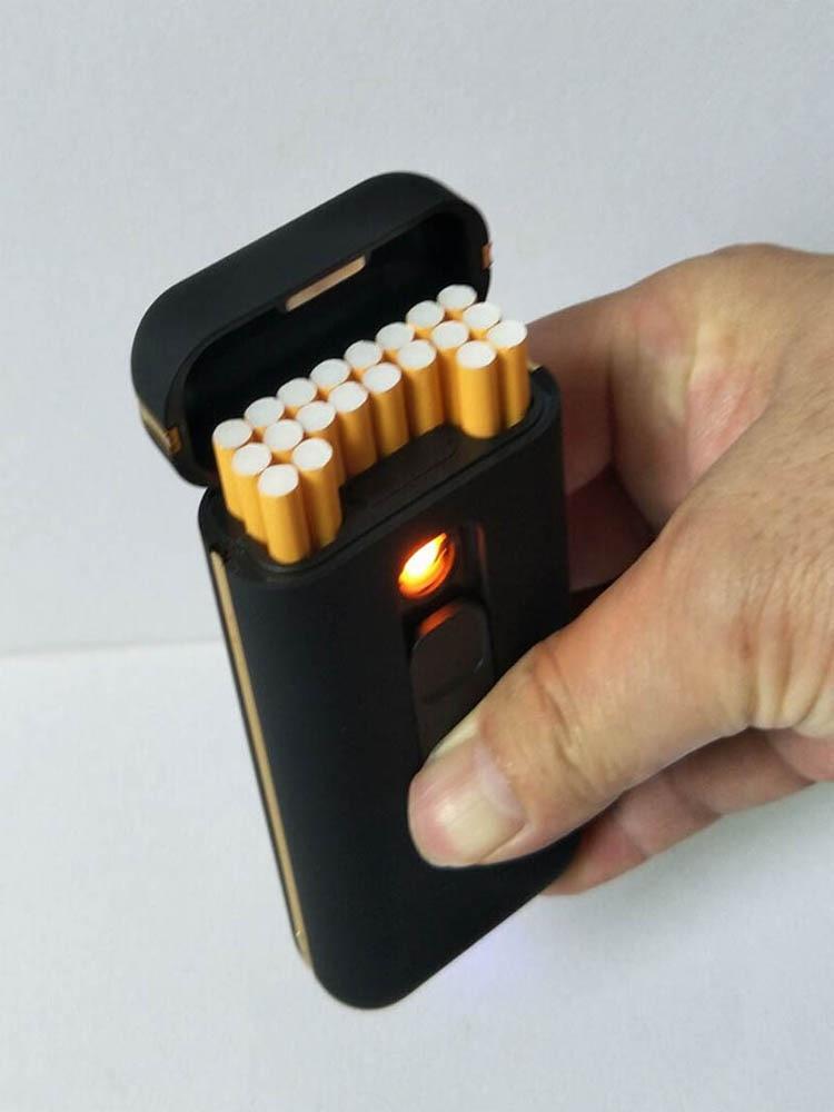 Caja de cigarrillos encendedor USB para paquete de 20 cigarrillos para cigarrillos de 100mm de largo y 5mm de diámetro