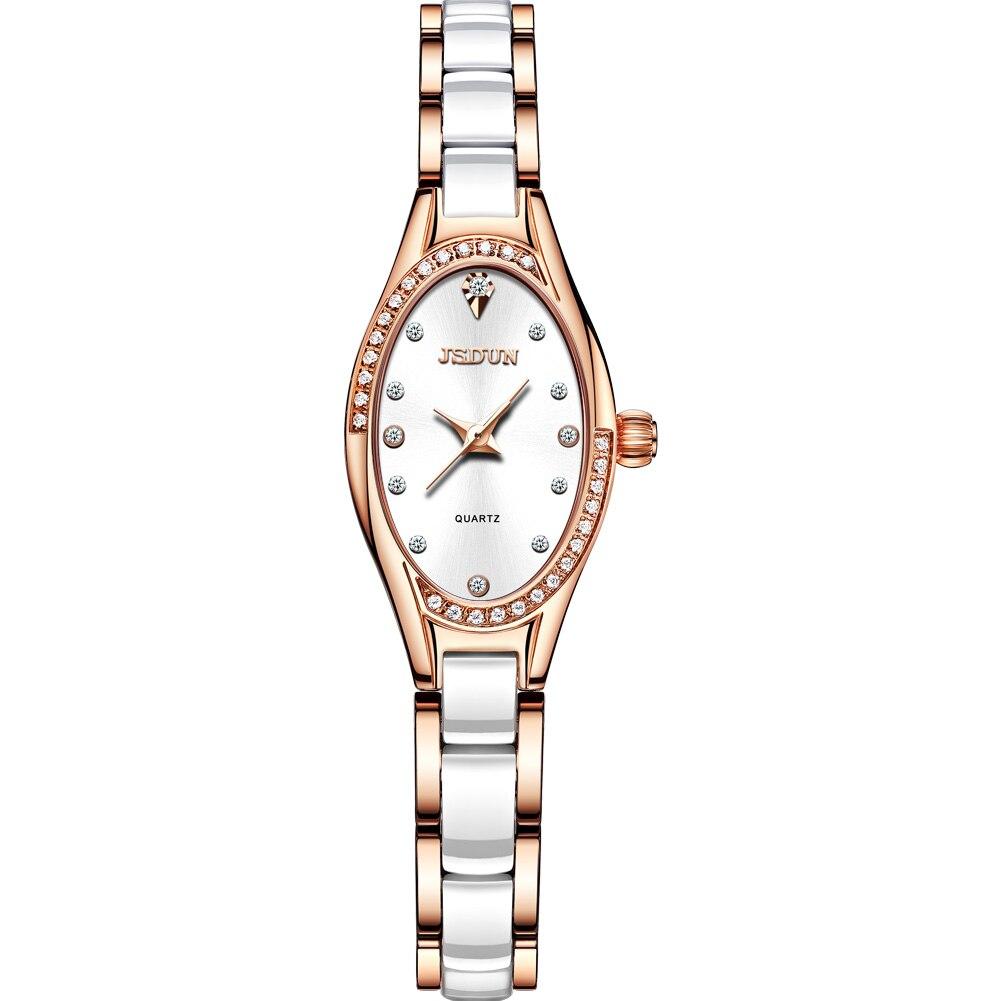 Relógio à Prova Jsdun Oval Pequeno Mostrador Relógio Senhoras Elegante Moda Simples Quartzo Mão Dwaterproof Água Cerâmica Cinta