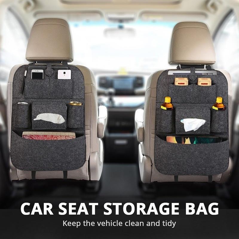 1pc Universal Car Back Seat Storage Bag Organizer Trunk Elastic Felt Storage Bag 6 Pockets Organizer