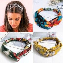 2020 Fashion Cross Knot Headbands Flower Print Elastic Hair Bands Ties Scarf Ribbon Headwear Women H