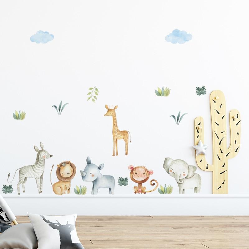 Cartoon Hand Drawn Animals Wall Sticker for Home Decor Kids room Kingdergarten Wall Decor Stickers Vinyl Wall Decals Home Decor