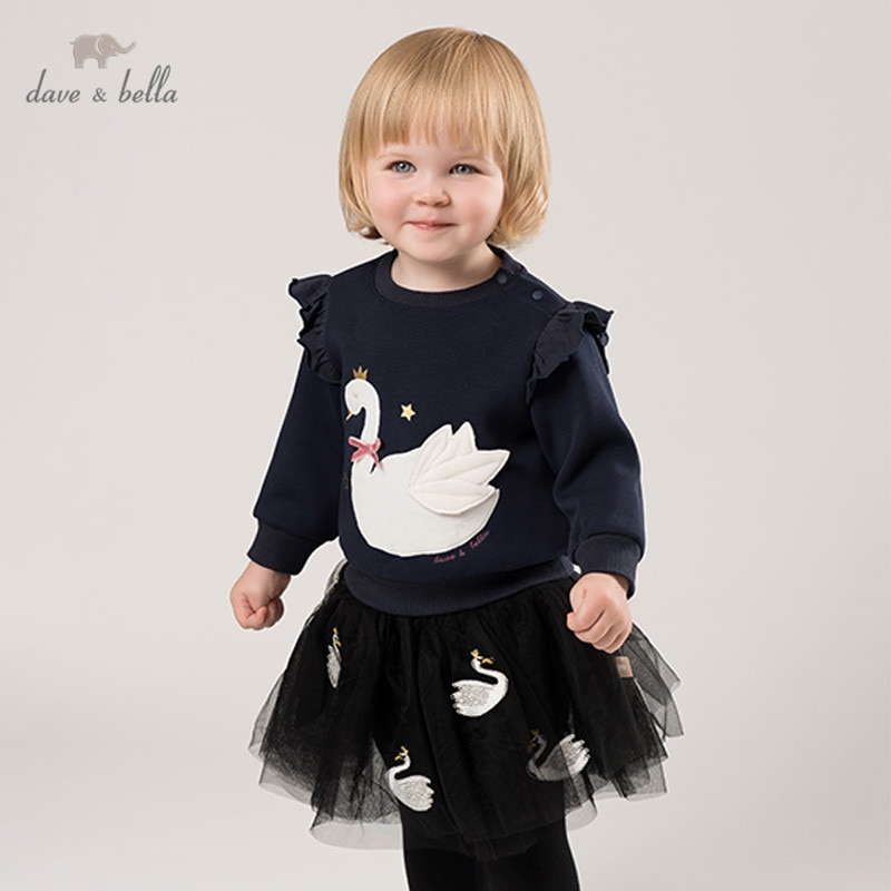 DBJ11575-2 Camiseta de manga larga para niños, camisetas de moda para niñas, de alta calidad, con lazo de dibujos animados, para bebés y niñas