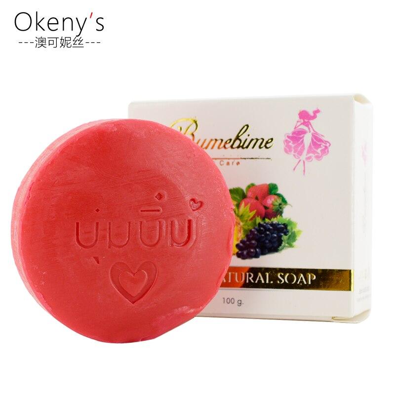 Tailândia bumebime sabonete artesanal frutas extrato de branqueamento sabão reduzir bactérias causando acne manchas pretas banho e corpo trabalha limpeza