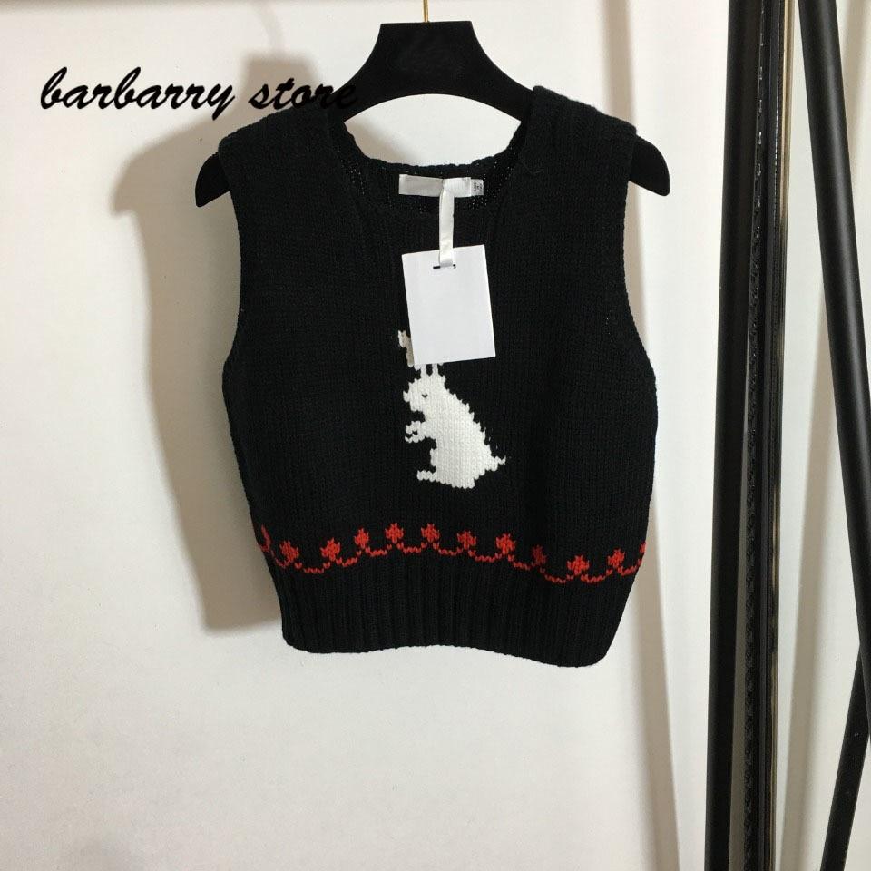 2021 luxury design lovely little white rabbit fashion women's sleeveless top temperament versatile slim knit vest short sleeve enlarge