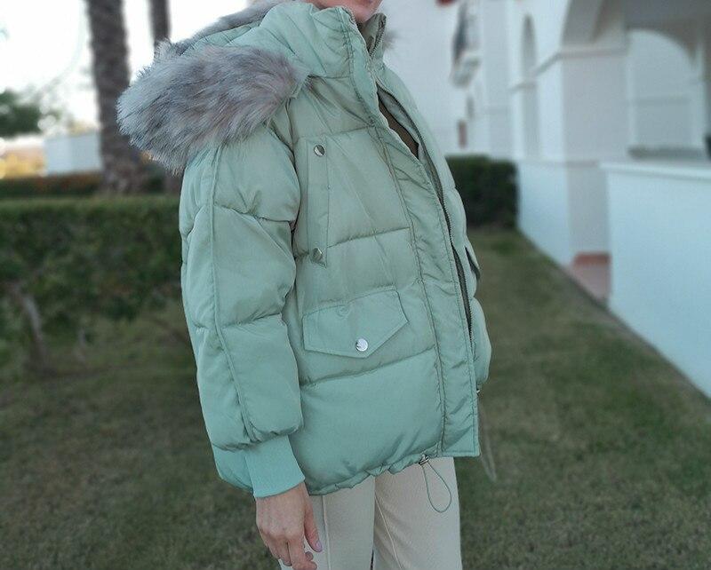 Zoulv женских зимних курток с капюшоном плотная теплая зимняя куртка, Детская короткая пуховая женская куртка на меху большое пальто с мехом, ...
