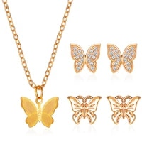 hot sale set of ornaments butterfly necklace simple classic butterfly earrings trend wild fashion jewelry accessories