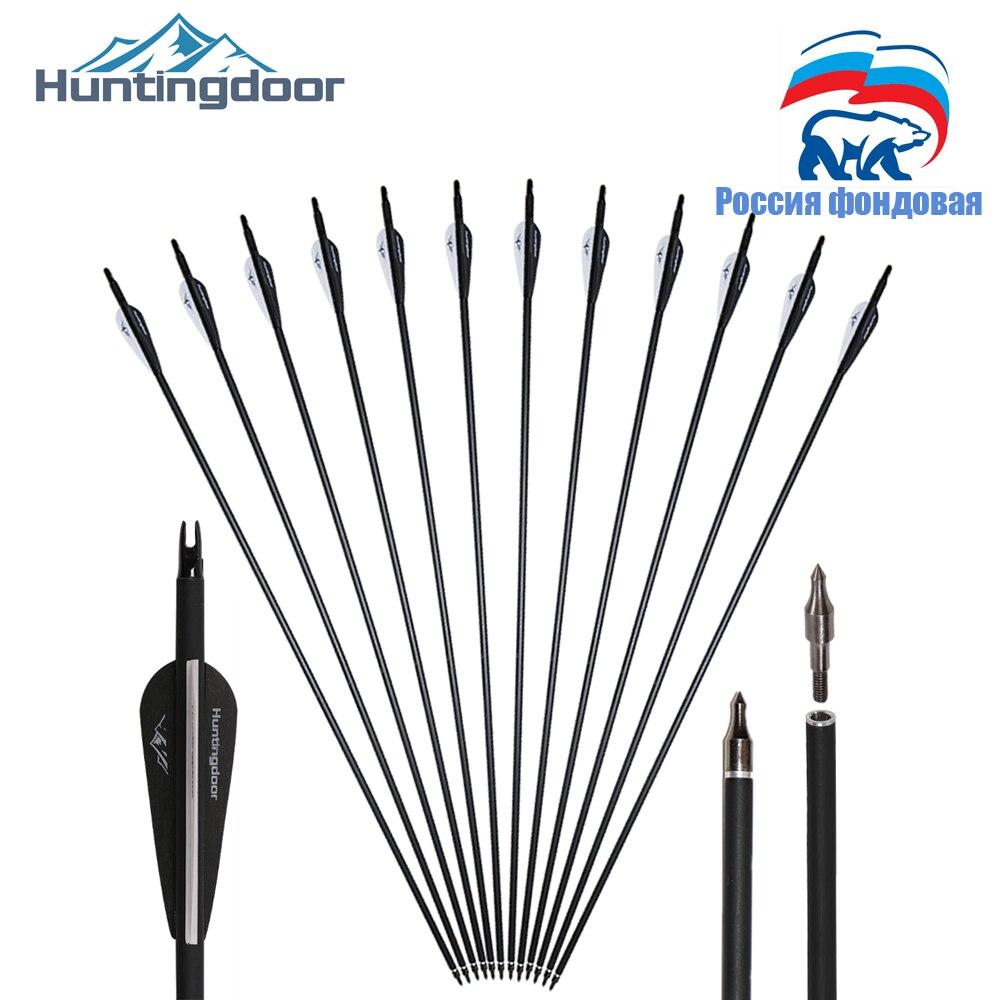 Ru estoque 31 polegada setas de carbono tiro com arco brrow preto e branco pena para recurvo/arco composto para caça shoting 12 pçs