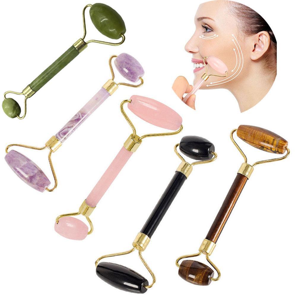 Portátil dupla cabeça de pedra rolo facial massageador rosto emagrecimento lift massagem corpo cabeça pescoço pé pedra