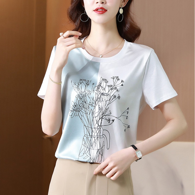 Korean Women Shirt Silk Blouses for Women Short Sleeve Shirts Tops Woman White Print Pullover Blouse Tops Plus Size Woman Shirts
