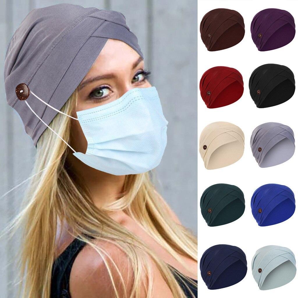 Gorro de lana liso con botón, gorro con soporte para la cara, sombrero con protección de Color sólido para las orejas, gorro de copa para mujer