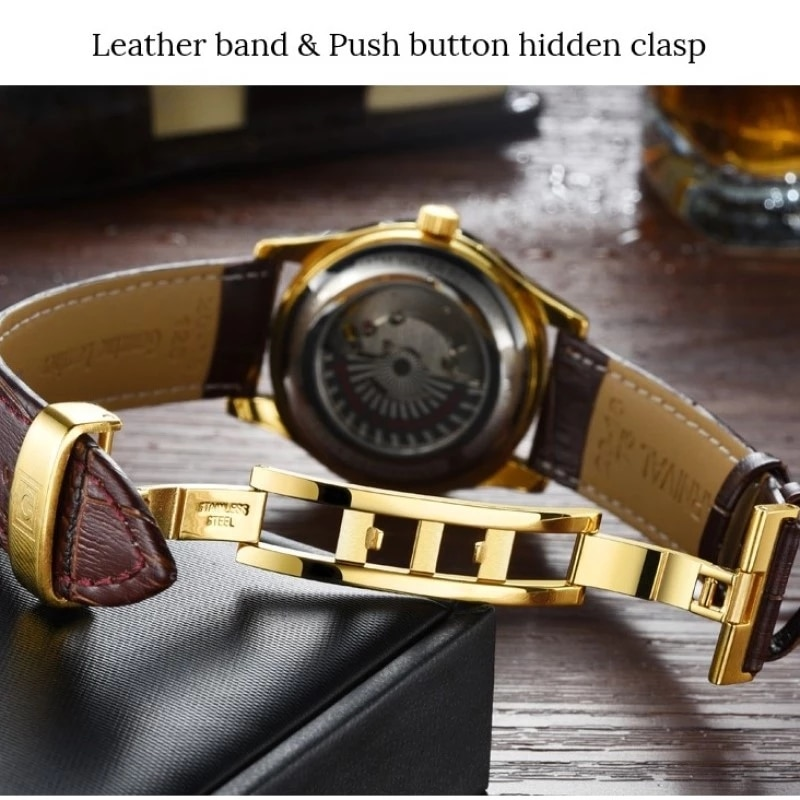 CARNIVAL Gold Automatic Watch Men Luxury Brand Waterproof Fashion Luminous Business Mechanical Wristwatch 2021 Relogio Masculino enlarge