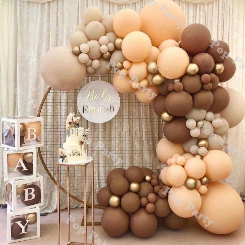 بالونات حفلات ما قبل الولادة ، إكليل على شكل قوس بني ، مجموعة زينة لحفلات الزفاف وأعياد الميلاد ، لوازم تزيين الحفلات الذكرى السنوية