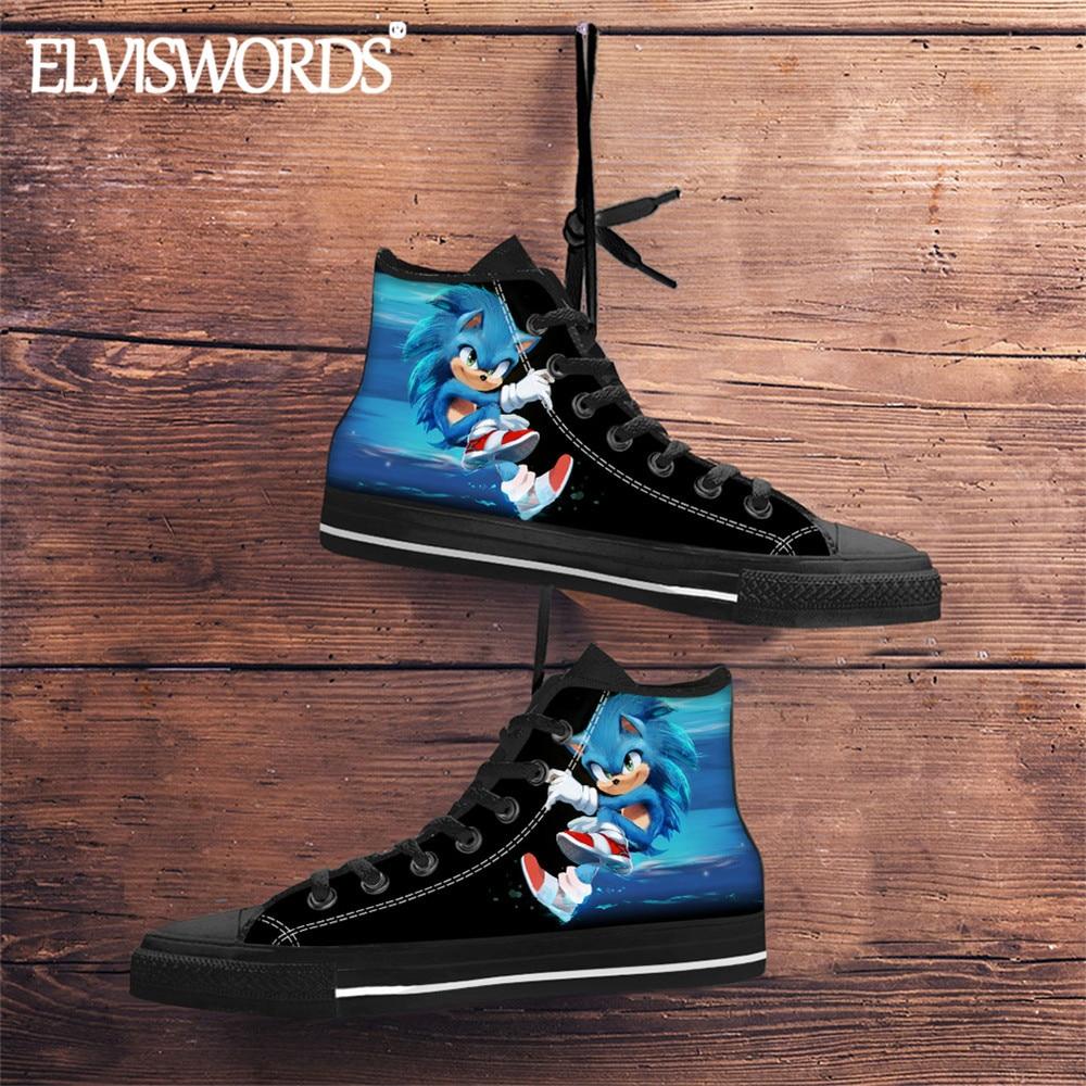 Zapatos vulcanizados de alta calidad a la moda para hombres, zapatillas Sonic The Hedgehog, zapatillas de lona de tela para adolescentes Cool Blue Sonic