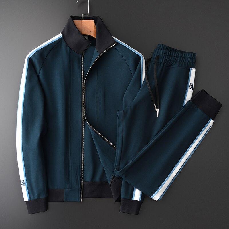 Juegos de hombres de Minglu (sudadera + pantalones) lujosas sudaderas con capucha talla grande 4xl cintura elástica para hombre