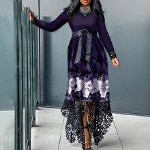 Vintage Asymmetrical Purple Lace Patchwork Long Dress Women African Spring Autumn Club Evening Party Dress Maxi Banquet Vestidos