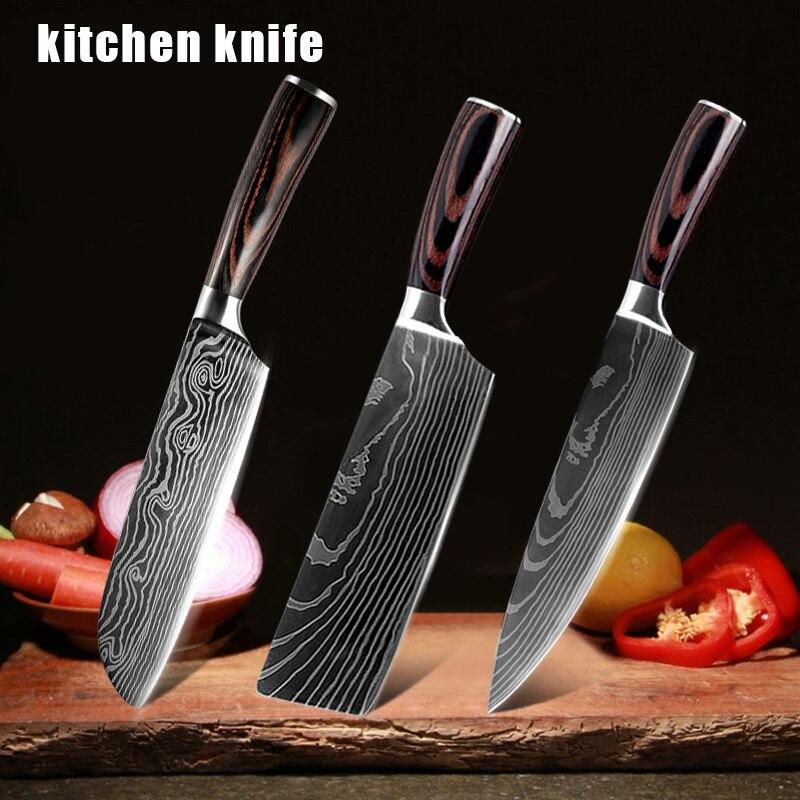 3 قطعة 7 بوصة/8 بوصة السكاكين مجموعة الشيف السكاكين عالية الكربون الفولاذ المقاوم للصدأ اليابانية دمشق سكين مطبخ الطبخ Toosl