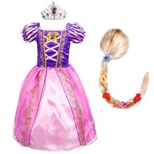 Niñas princesa Rapunzel vestir a los niños verano Floral traje con lazo peluca niños Halloween fiesta de cumpleaños vestidos de fantasía