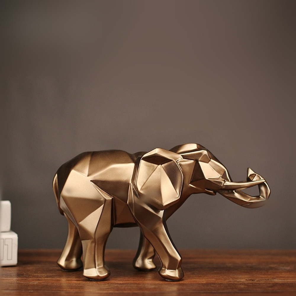 Фото - 2021 Modern Abstract Golden Elephant Statue Resin Ornament Home Decoration Accessories Gifts for Elephant Sculpture Animal Craft golden elephant