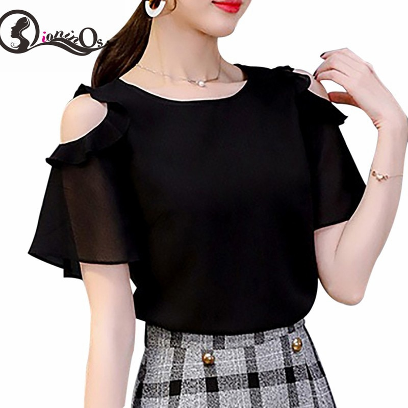 2019 blusa de verano para damas camisas con volantes con hombros descubiertos negro/blusas blancas gasa cuello redondo manga corta Tops sólidos