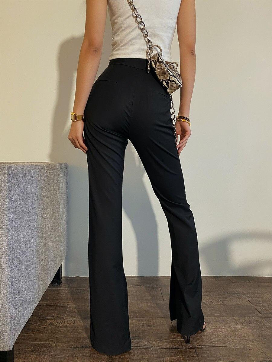 Black Long Straight Black High Waist Straight Pants Mopping Pants Slit Design Tall and Thin