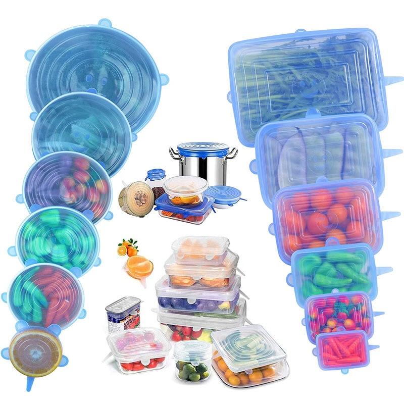 Многоразовые прочные силиконовые крышки, растягивающиеся крышки для свежих продуктов, сохранение свежести продуктов, 6 упаковок